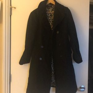 Zara large black trench with leopard inside